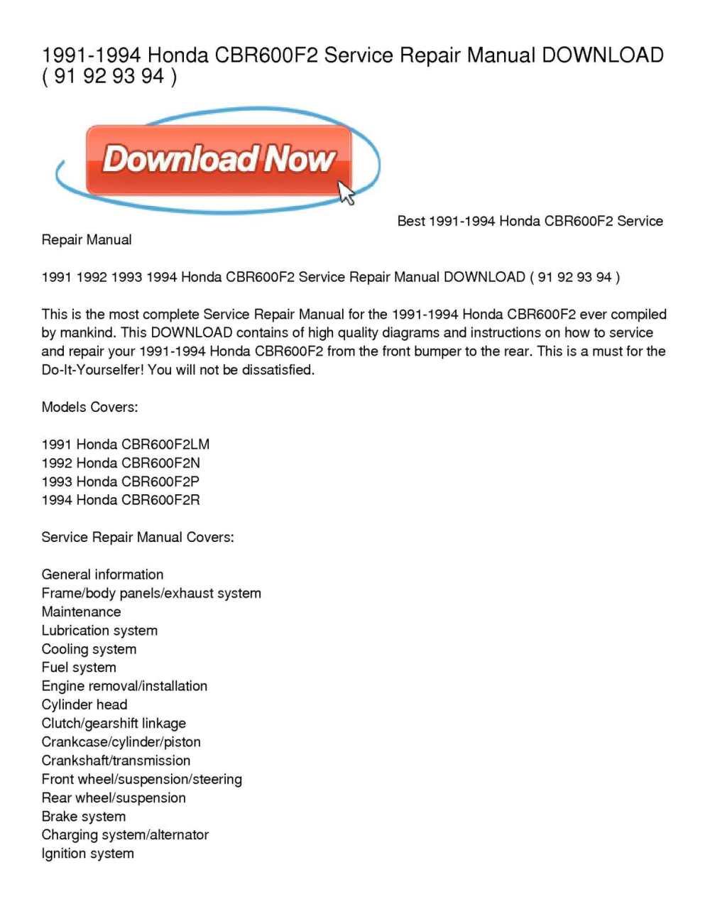 medium resolution of 1991 1994 honda cbr600f2 service repair manual download