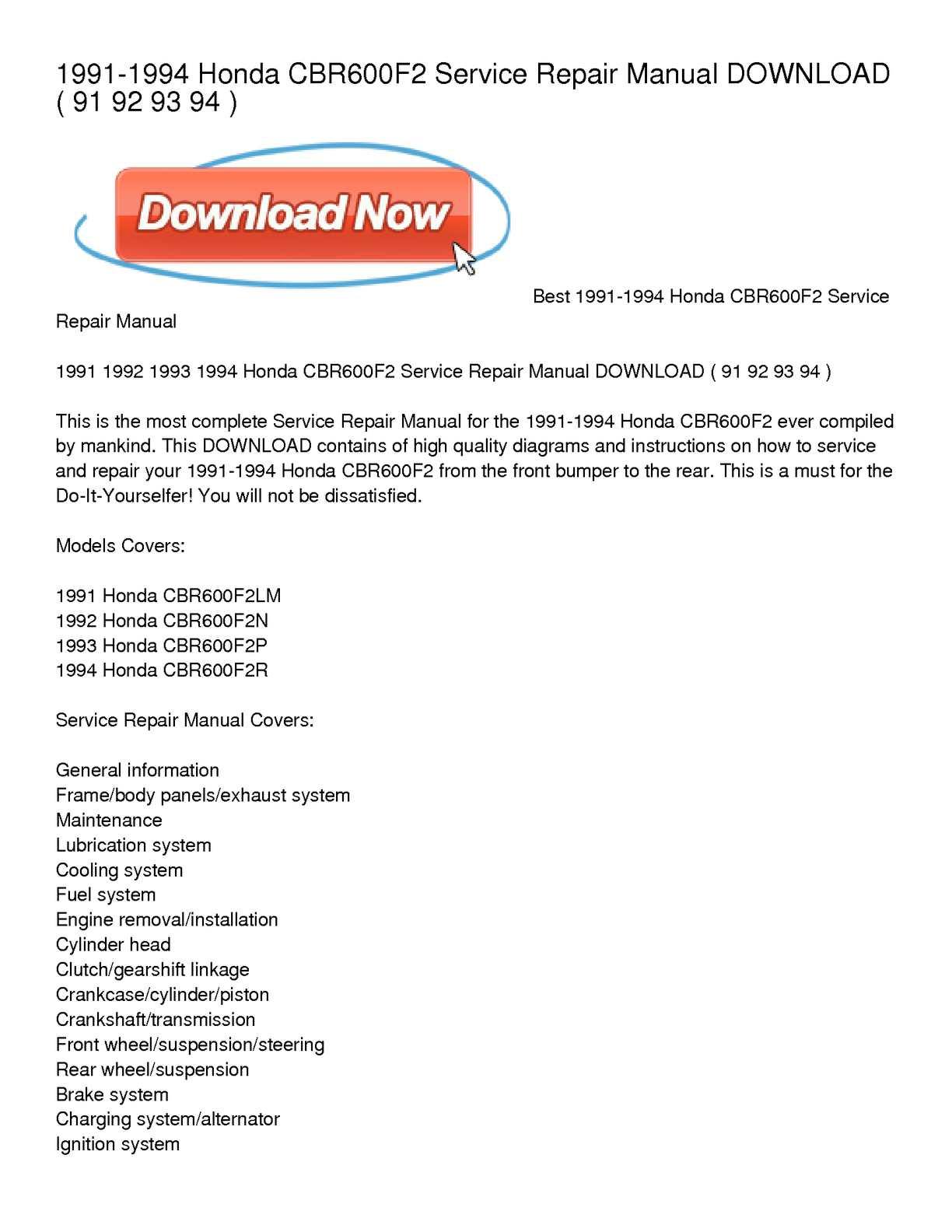 hight resolution of 1991 1994 honda cbr600f2 service repair manual download