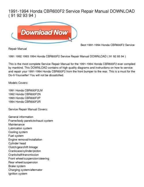 small resolution of 1991 1994 honda cbr600f2 service repair manual download