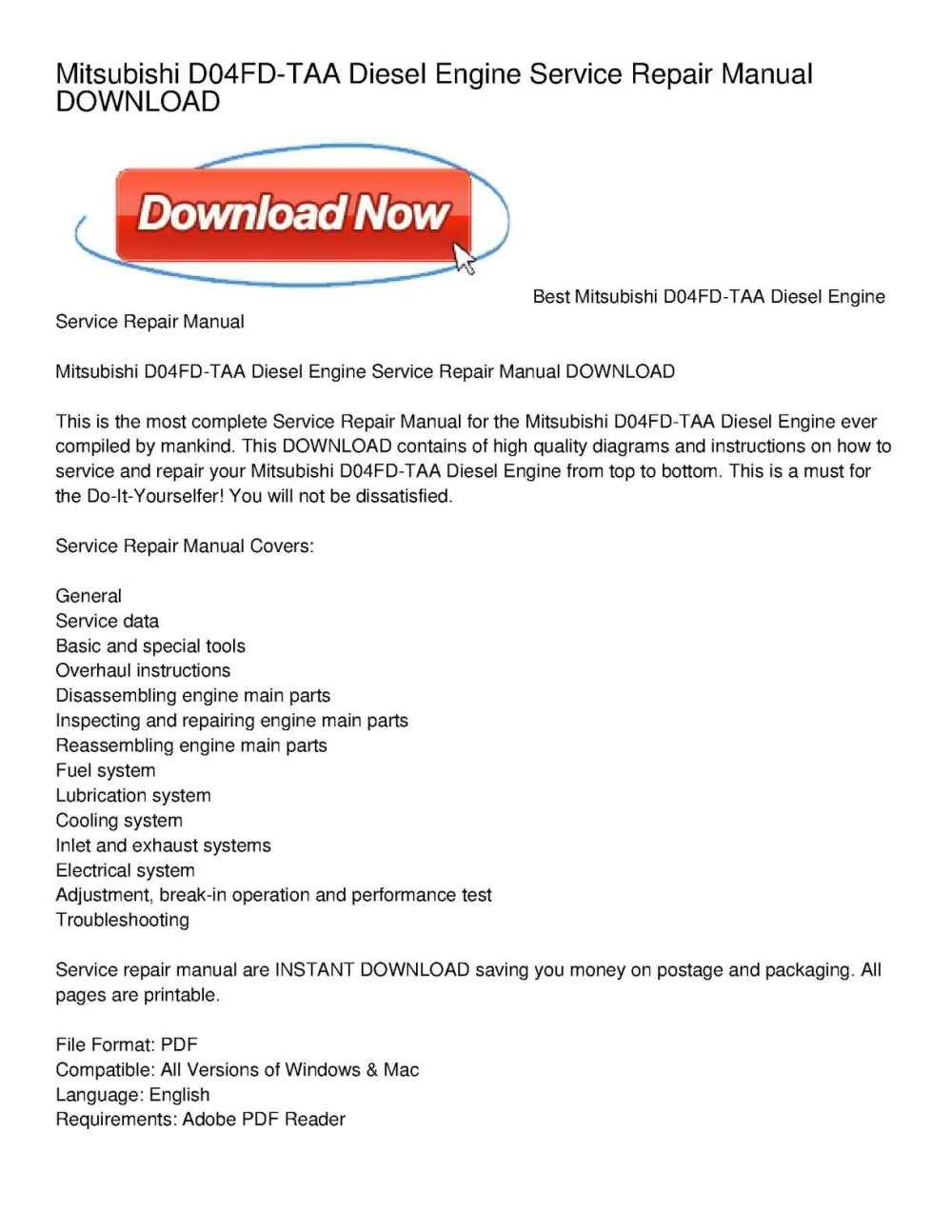 medium resolution of mitsubishi d04fd taa diesel engine service repair manual download