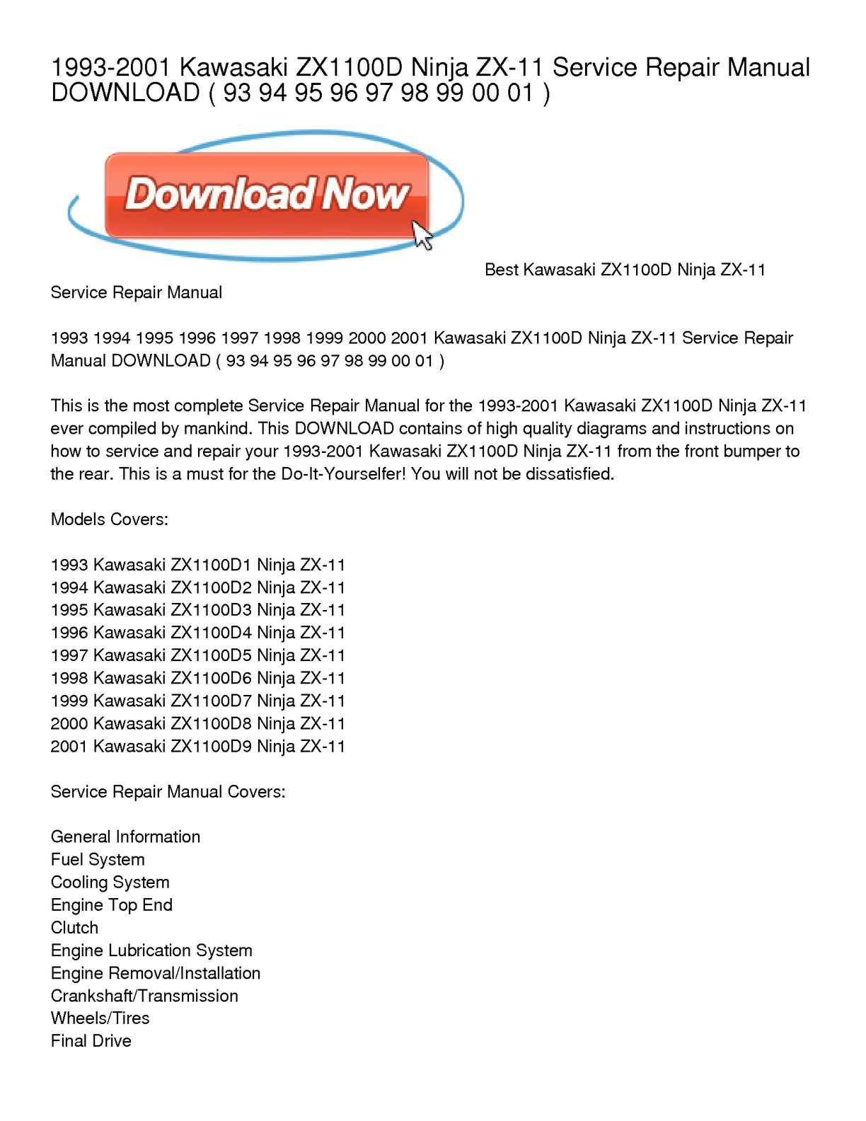 hight resolution of 1993 2001 kawasaki zx1100d ninja zx 11 service repair manual download