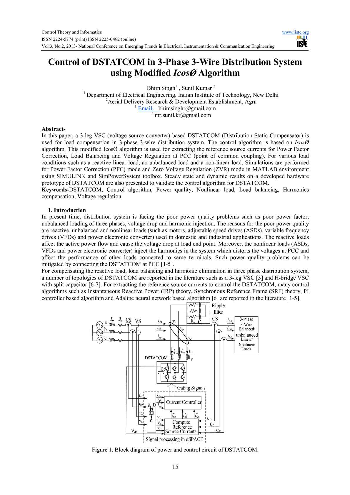hight resolution of control of dstatcom in 3 phase 3 wire distribution system using modified icos algorithm