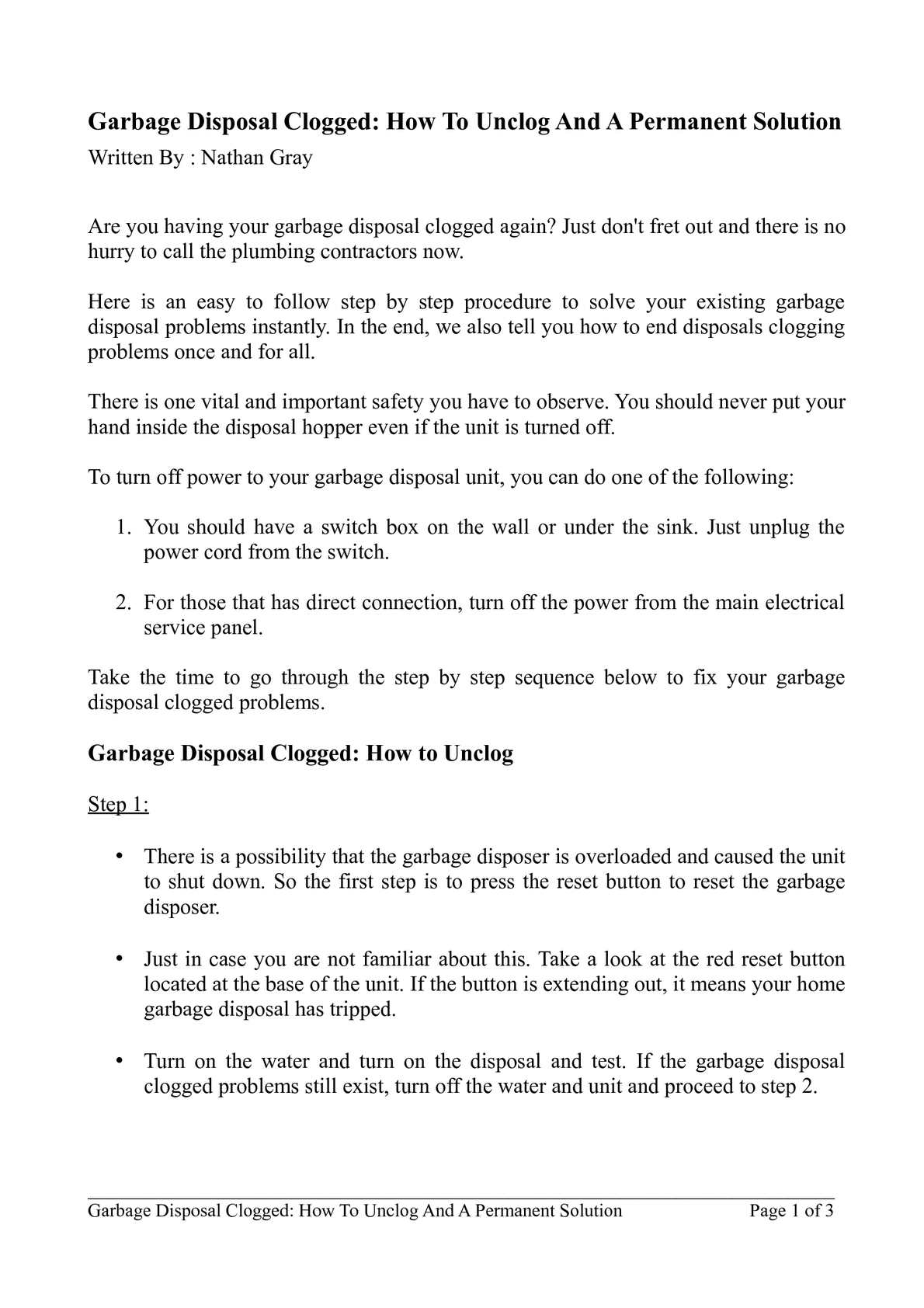 garbage disposal clogged how to unclog