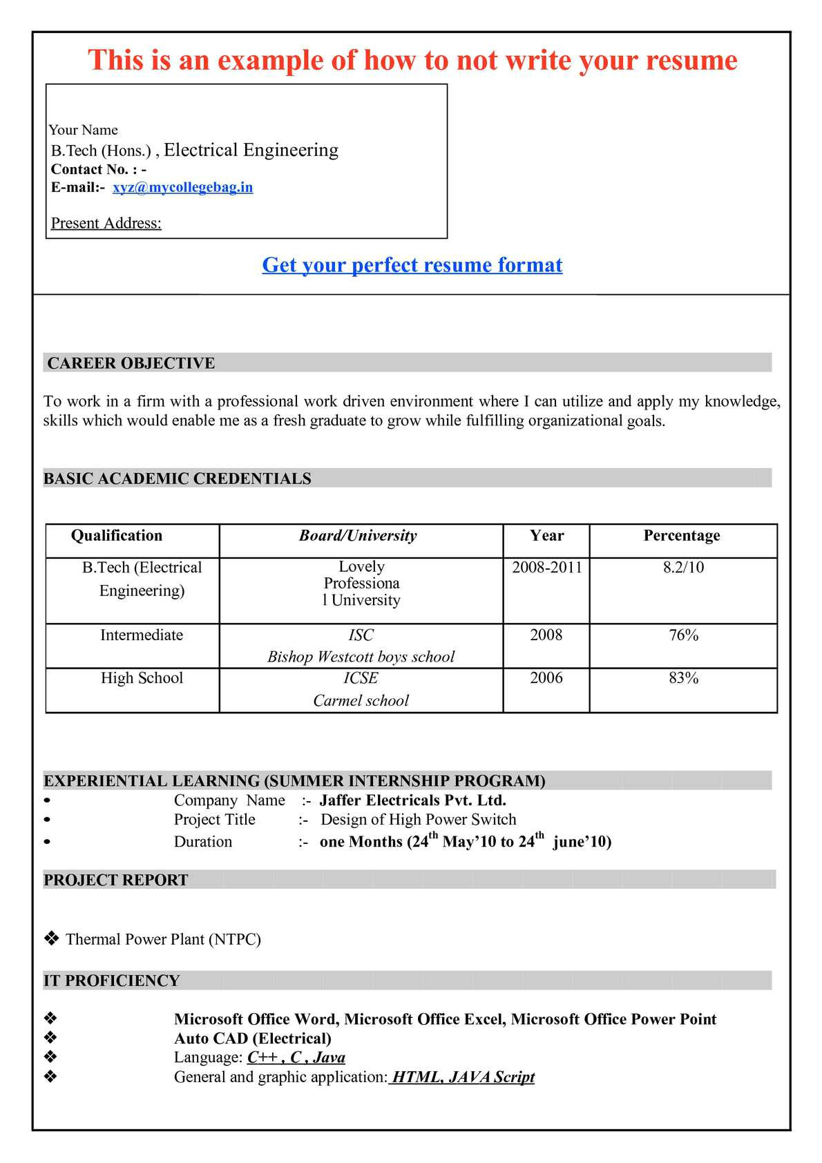 Basic Resume Template Free Samples Examples Format Resume Examples