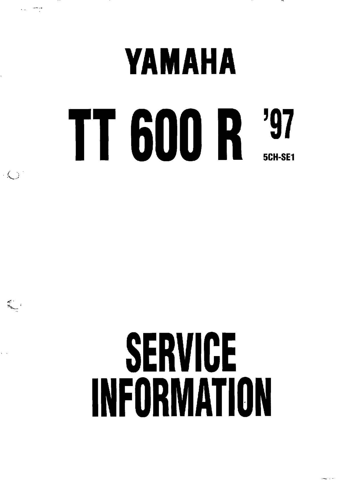 Yamaha tt 600 r service manual