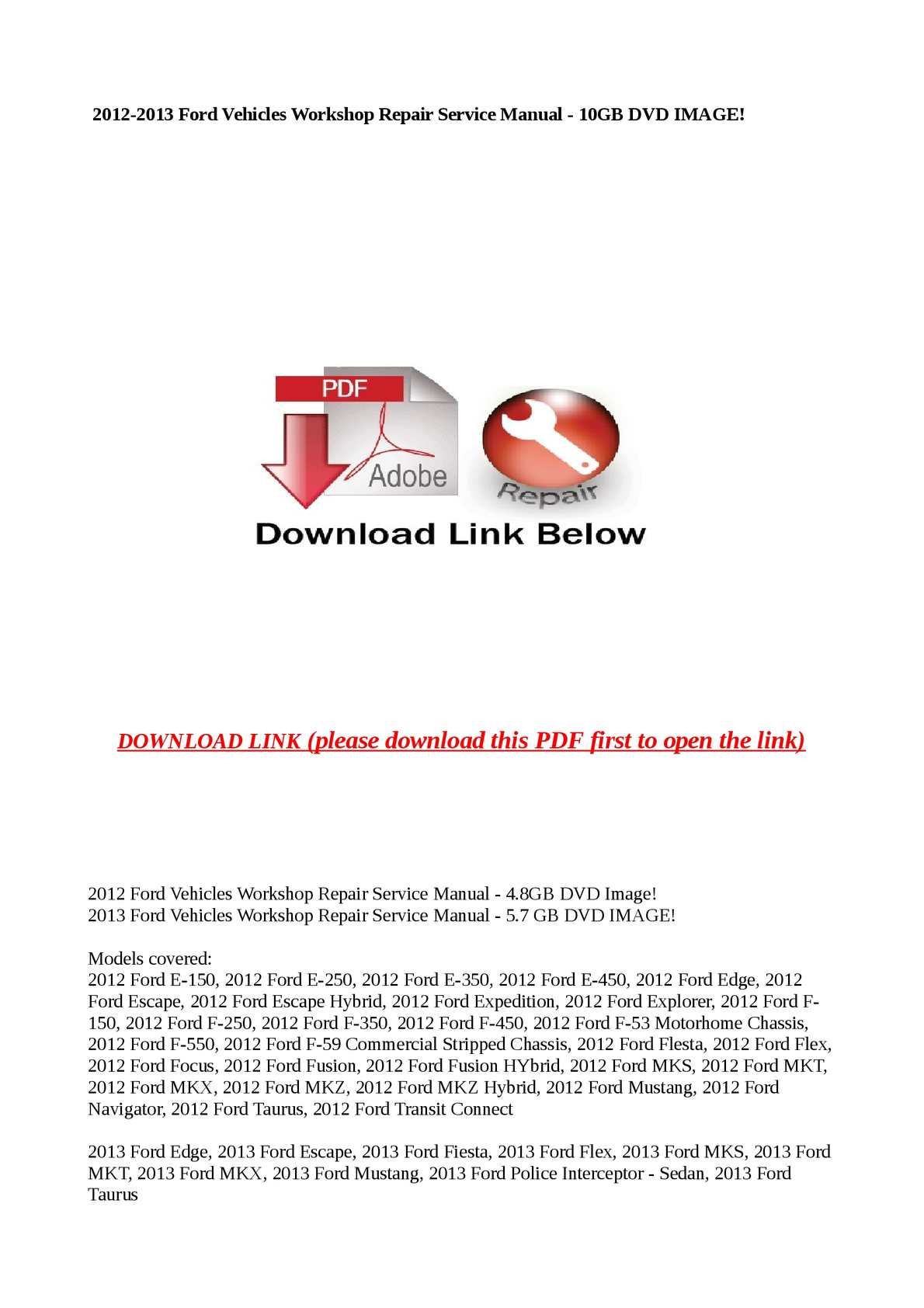 hight resolution of 2012 2013 ford vehicles workshop repair service manual 10gb dvd image