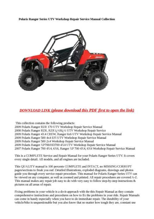 small resolution of calam o polaris ranger series utv workshop repair service manual collection