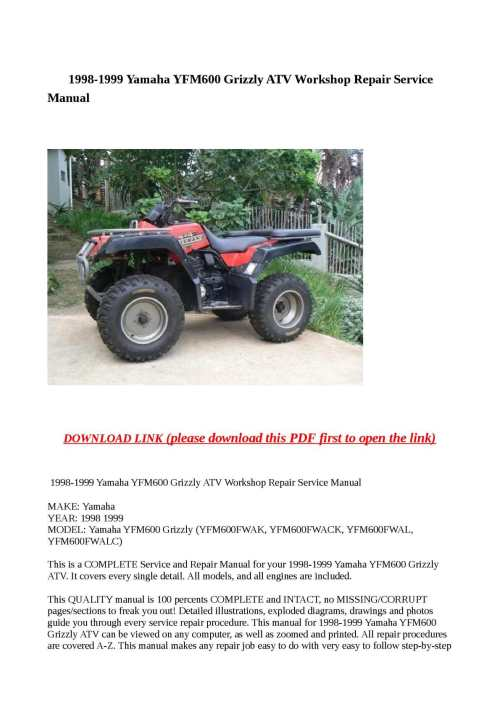small resolution of 1998 1999 yamaha yfm600 grizzly atv workshop repair service manual