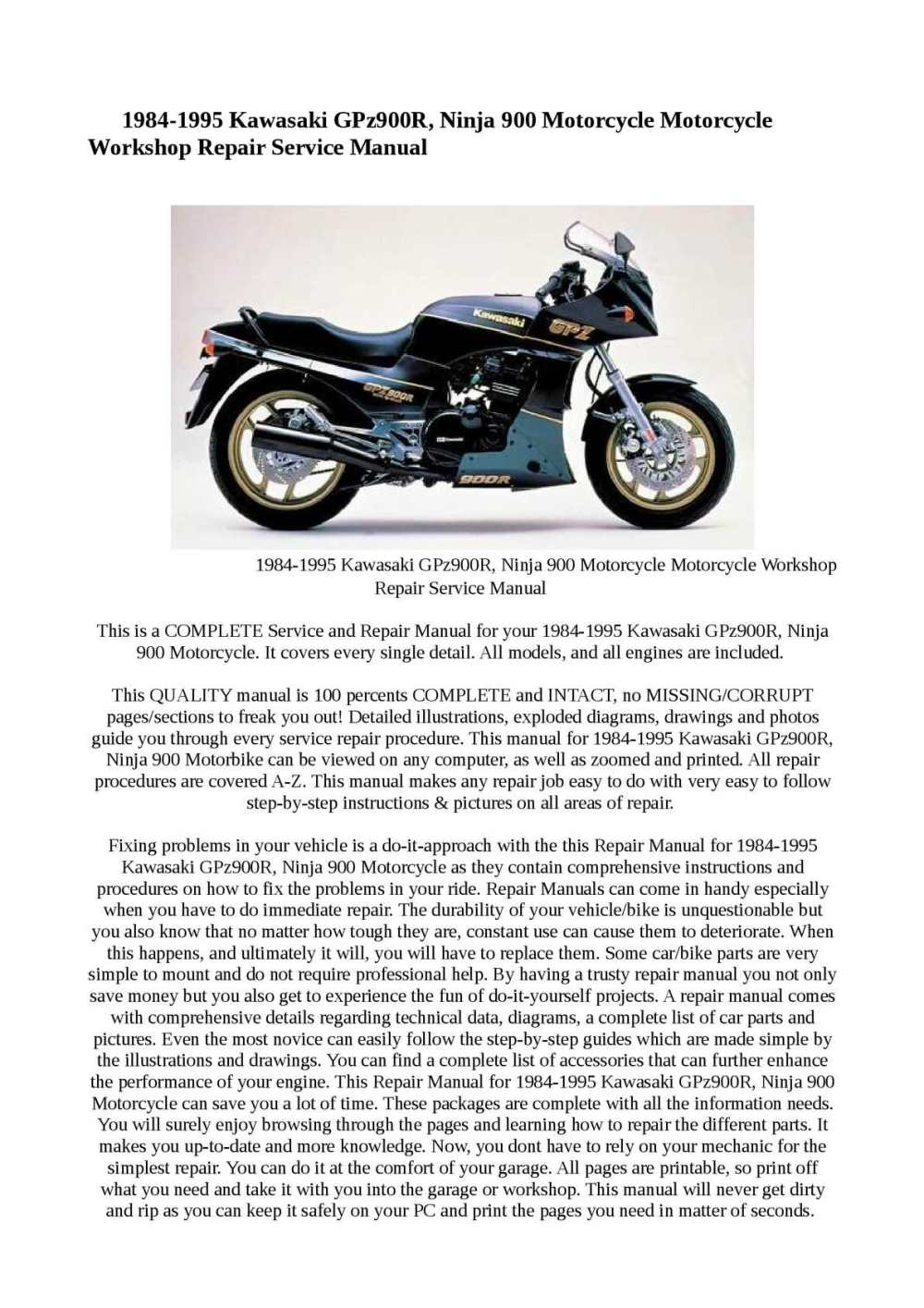 medium resolution of calam o 1984 1995 kawasaki gpz900r ninja 900 motorcycle engine diagram 1985 ninja 900