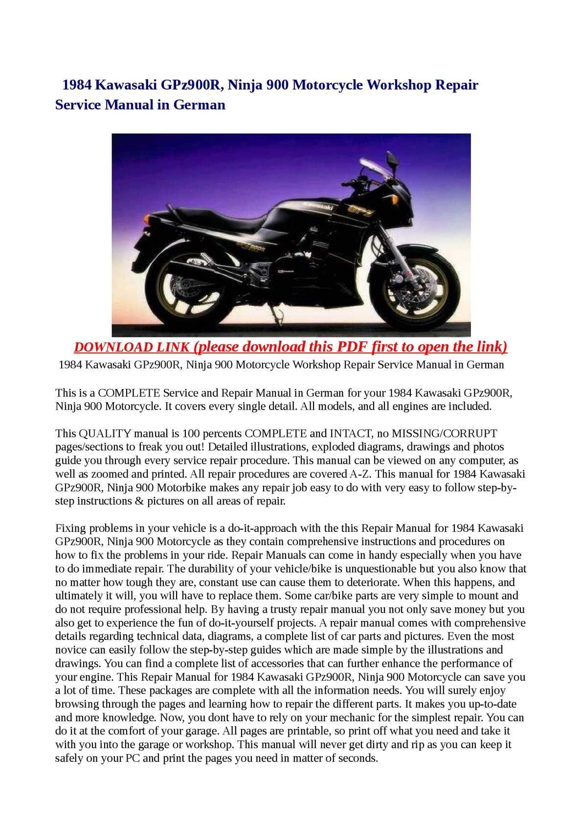 hight resolution of calam o 1984 kawasaki gpz900r ninja 900 motorcycle workshop repair service manual in german