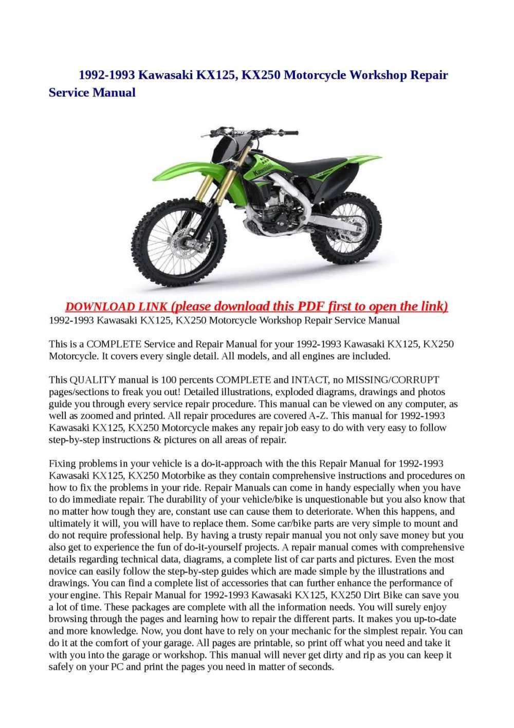 medium resolution of calam o 1992 1993 kawasaki kx125 kx250 motorcycle workshop repair service manual