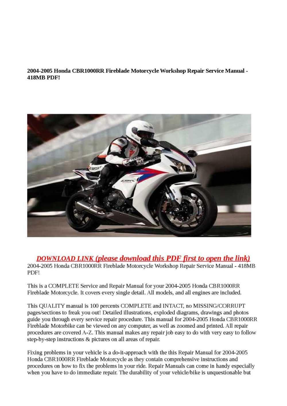 medium resolution of 2004 2005 honda cbr1000rr fireblade motorcycle workshop repair service manual 418mb pdf