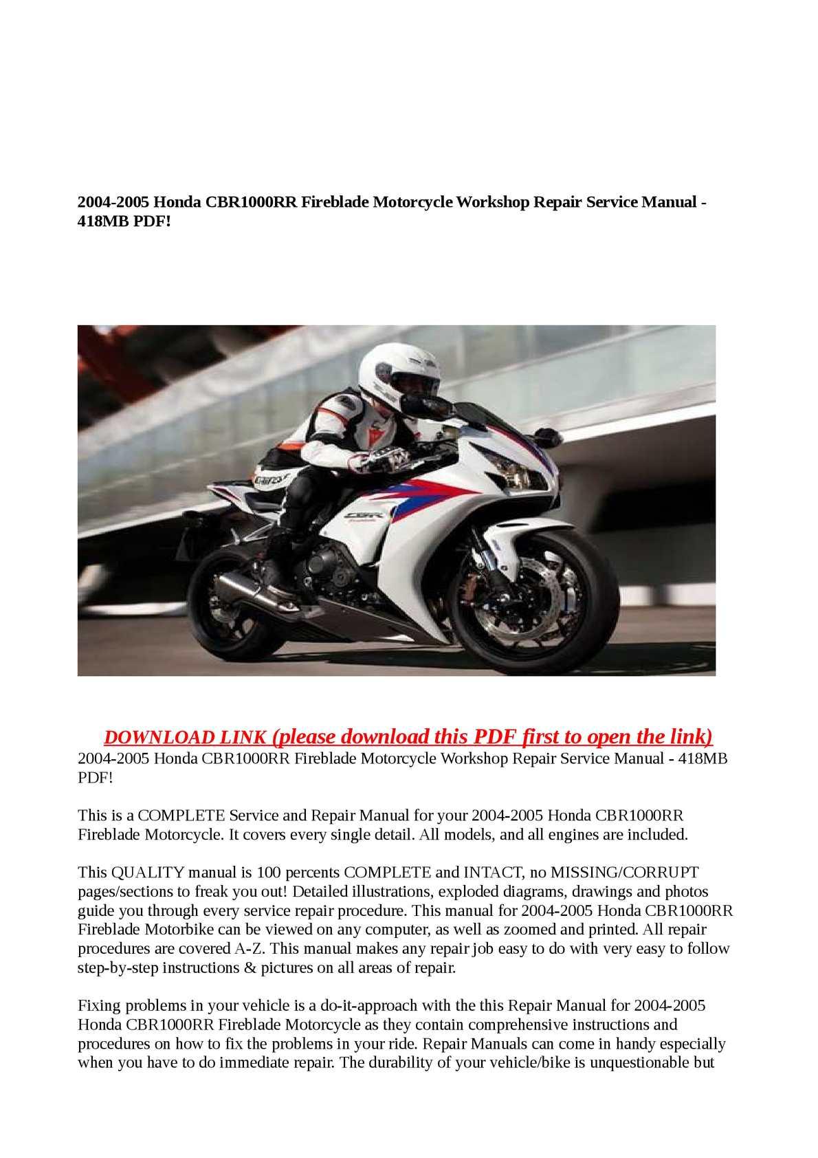 hight resolution of 2004 2005 honda cbr1000rr fireblade motorcycle workshop repair service manual 418mb pdf