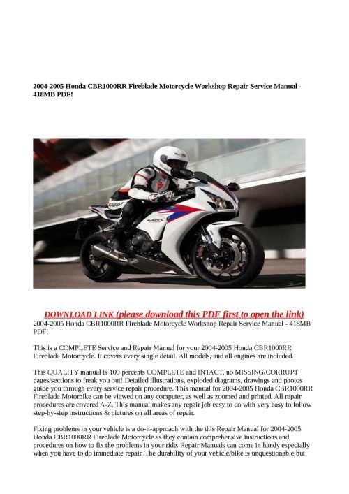 small resolution of 2004 2005 honda cbr1000rr fireblade motorcycle workshop repair service manual 418mb pdf