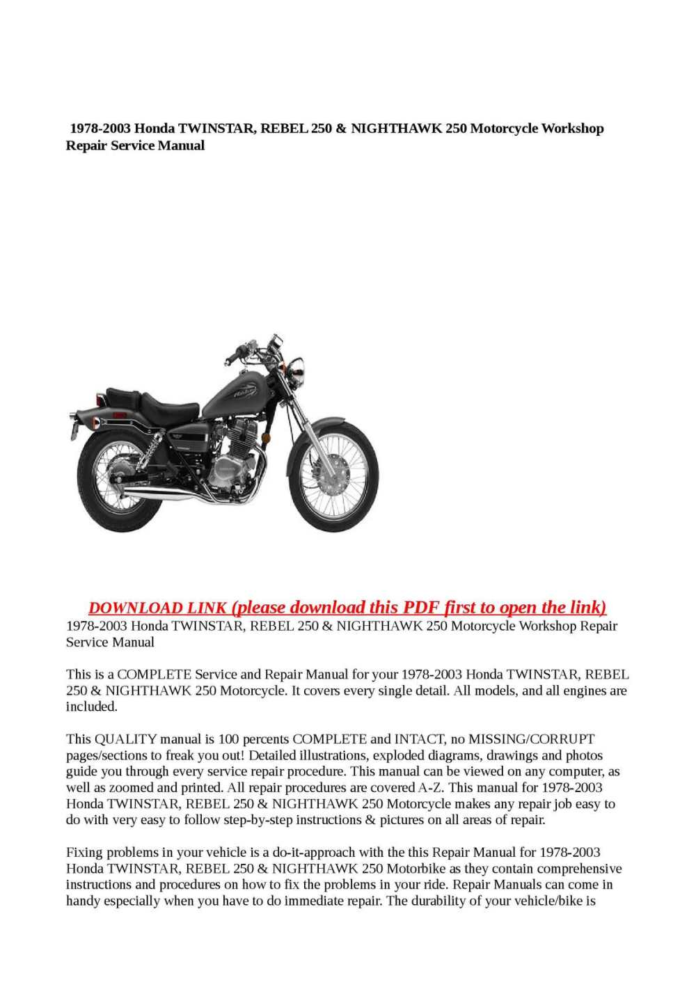 medium resolution of calam o 1978 2003 honda twinstar rebel 250 nighthawk 250 motorcycle workshop repair service manual