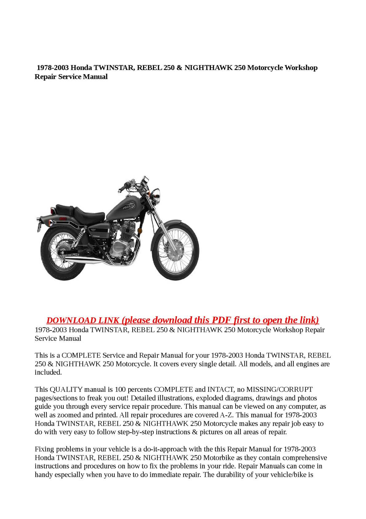 hight resolution of calam o 1978 2003 honda twinstar rebel 250 nighthawk 250 motorcycle workshop repair service manual