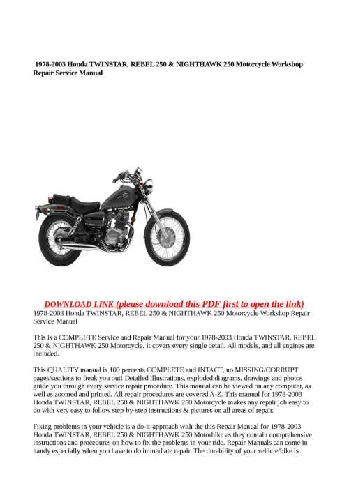small resolution of calam o 1978 2003 honda twinstar rebel 250 nighthawk 250 motorcycle workshop repair service manual
