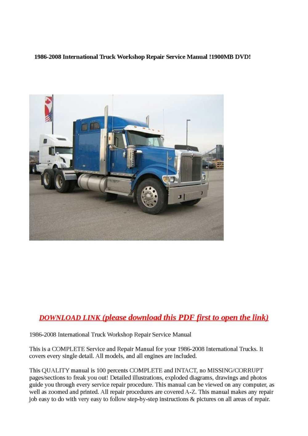 medium resolution of calam o 1986 2008 international truck workshop repair service manual 1900mb dvd