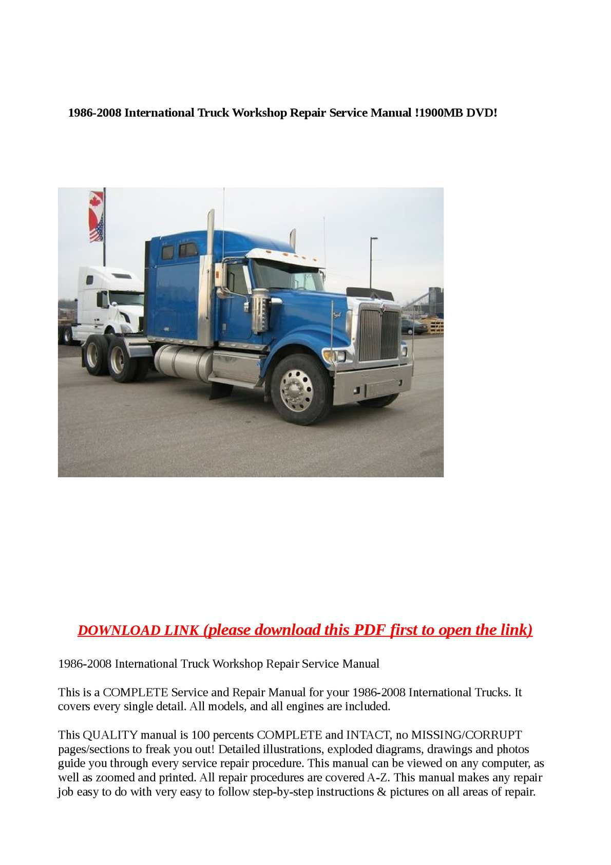 hight resolution of calam o 1986 2008 international truck workshop repair service manual 1900mb dvd