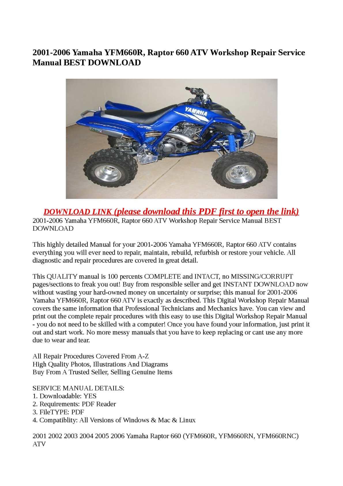 hight resolution of 2001 2006 yamaha yfm660r raptor 660 atv workshop repair service manual best download