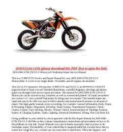 2005 2006 ktm 250 sx f motorcycle workshop repair service manual [ 1190 x 1684 Pixel ]