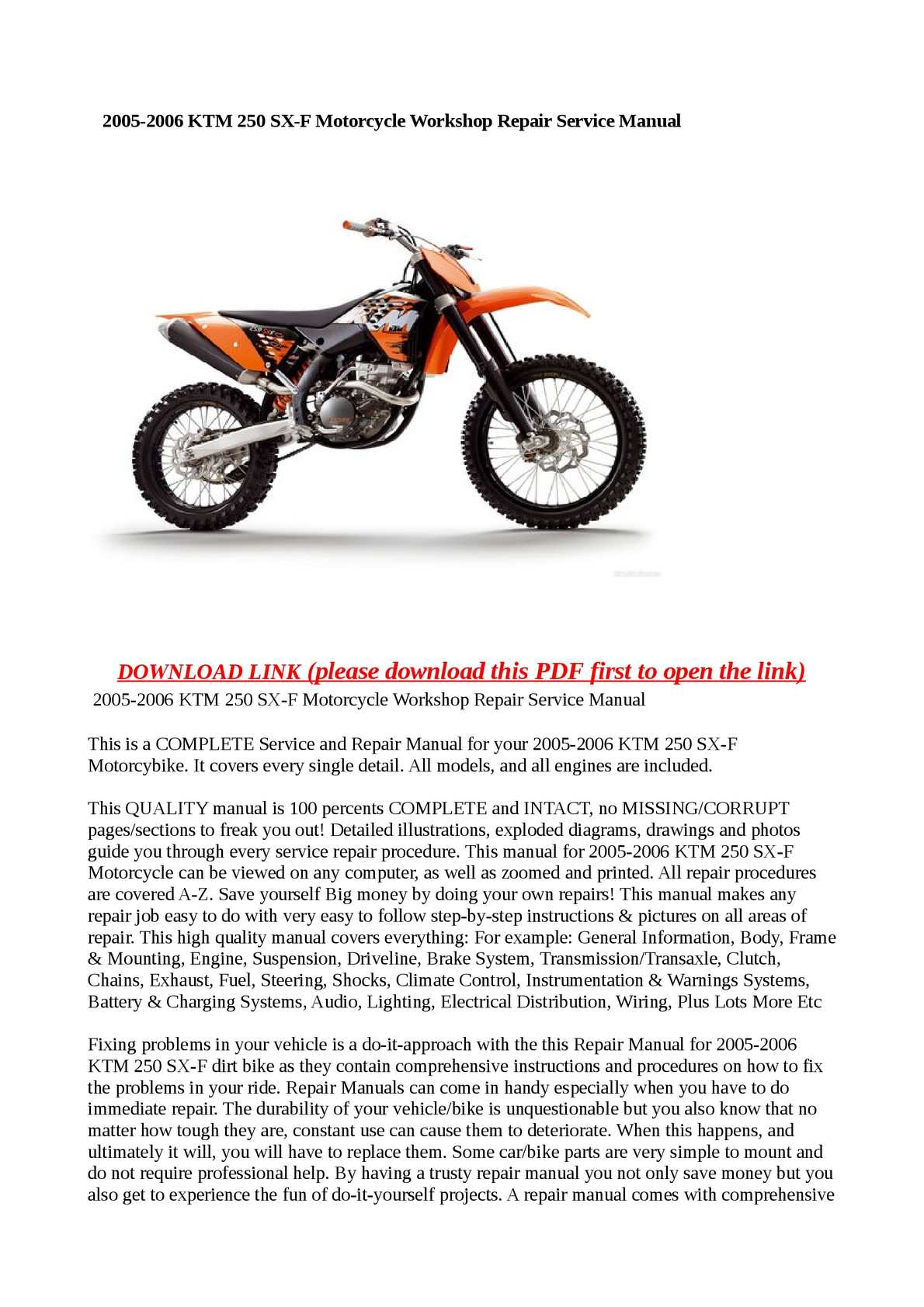 hight resolution of 2005 2006 ktm 250 sx f motorcycle workshop repair service manual