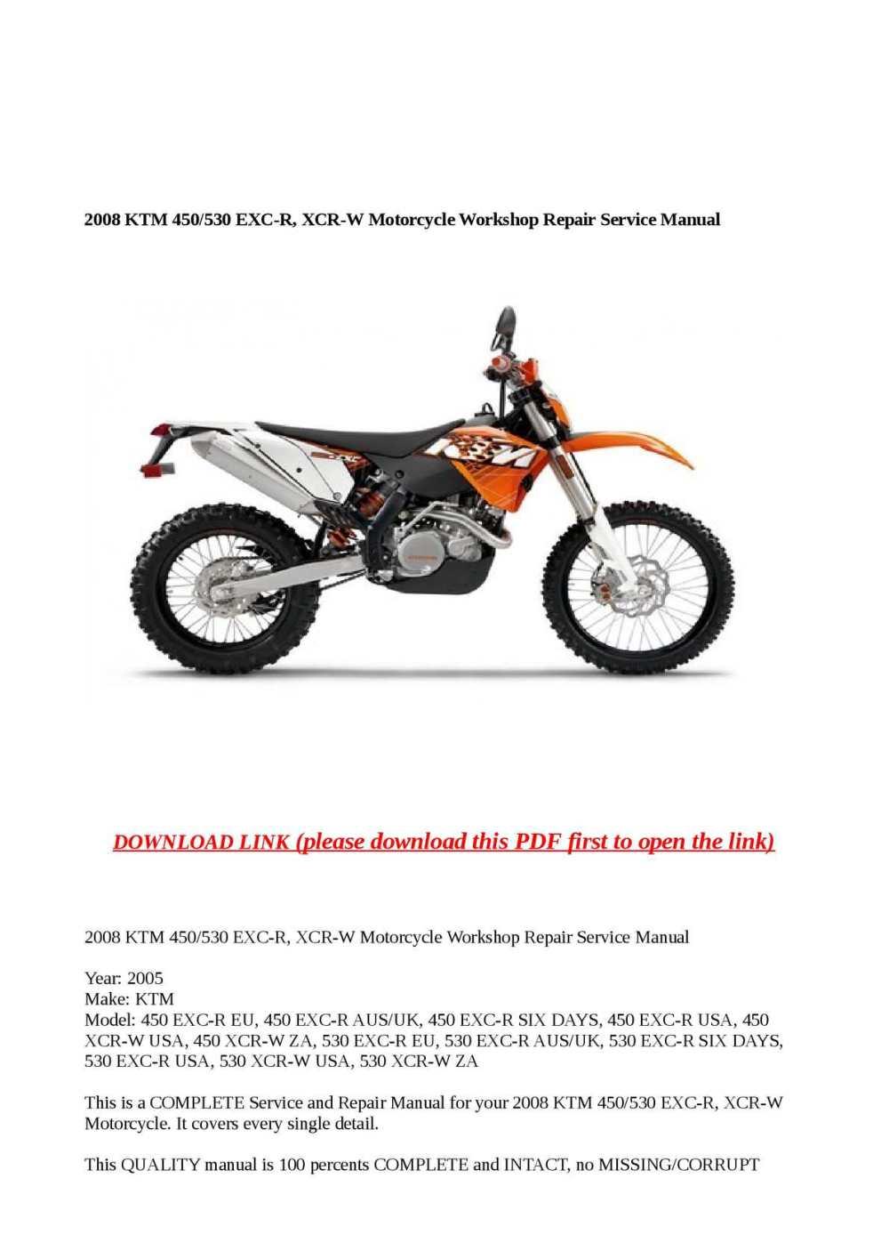 medium resolution of calam o 2008 ktm 450 530 exc r xcr w motorcycle workshop