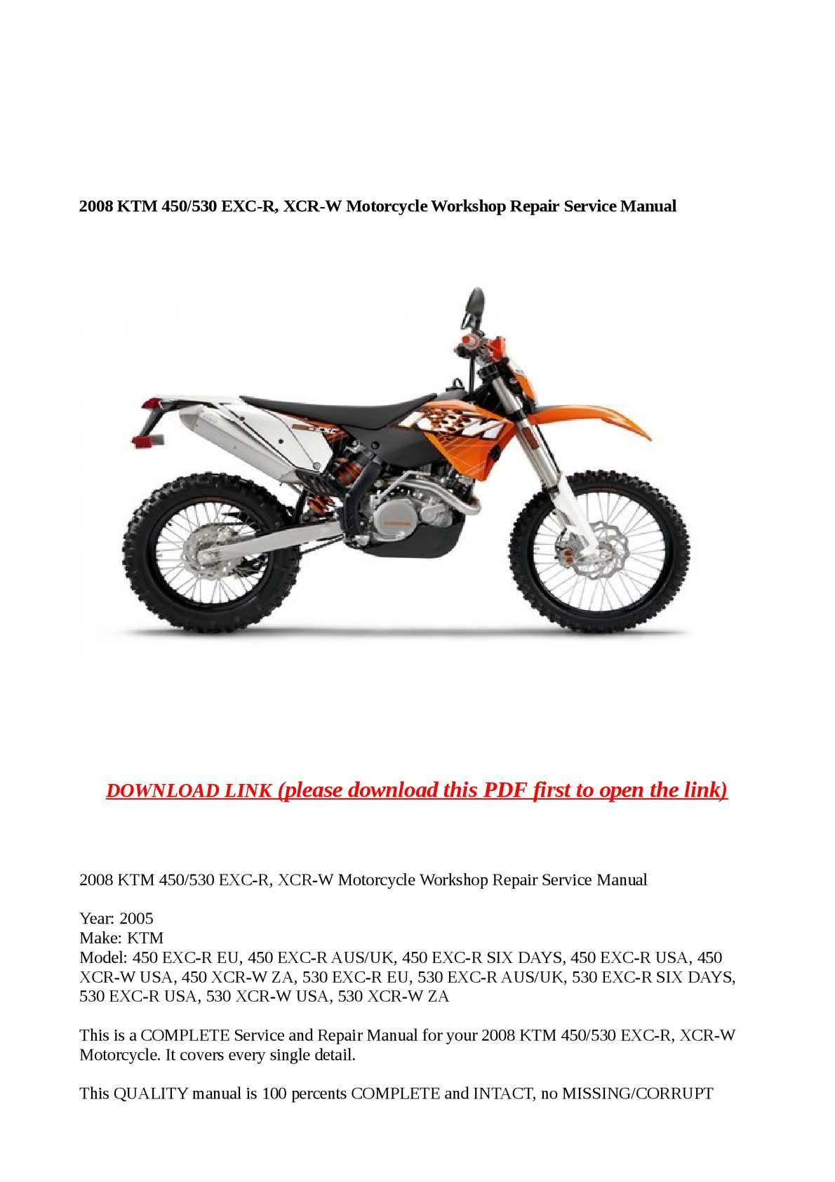 hight resolution of calam o 2008 ktm 450 530 exc r xcr w motorcycle workshop