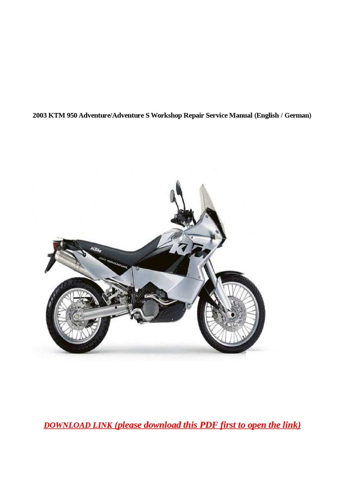 2003 Ktm 950 Workshop Service Repair Manuals Download
