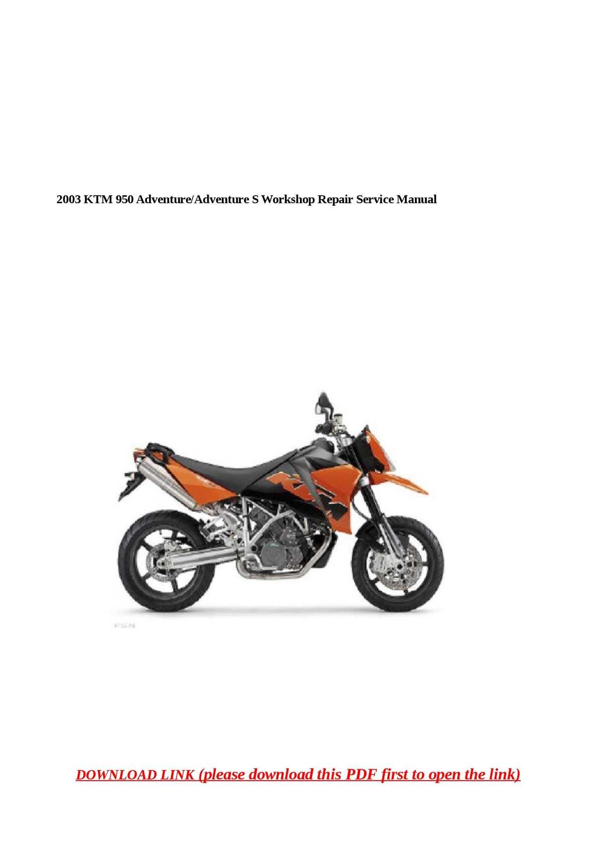 2003 Ktm 950 Adventure Factory Service Repair Manuals