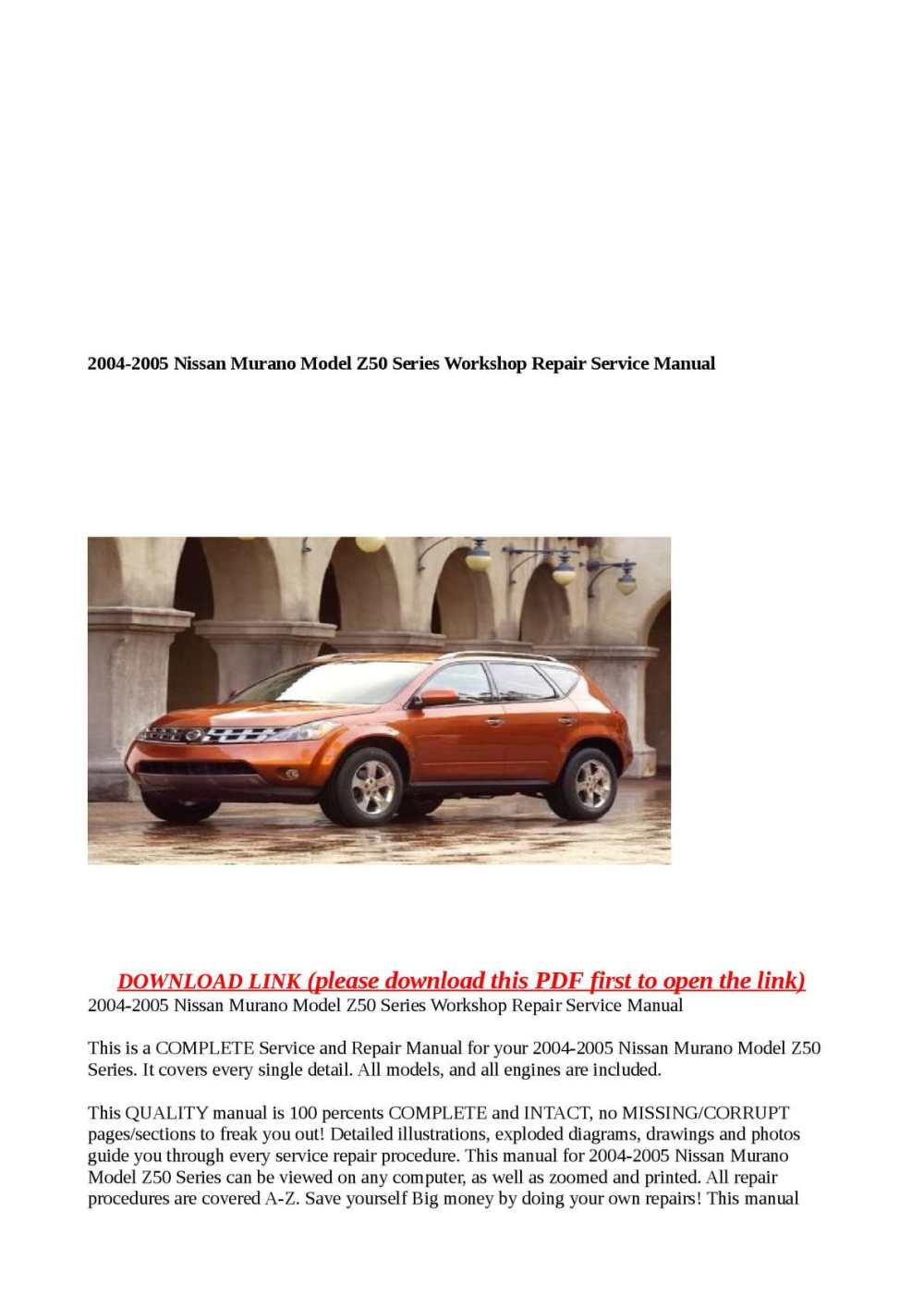 medium resolution of 2004 2005 nissan murano model z50 series workshop repair service