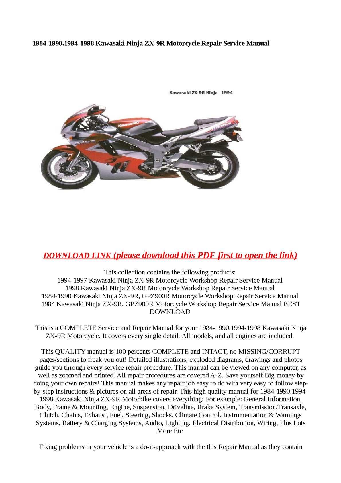 hight resolution of 1984 1990 1994 1998 kawasaki ninja zx 9r motorcycle repair service manual