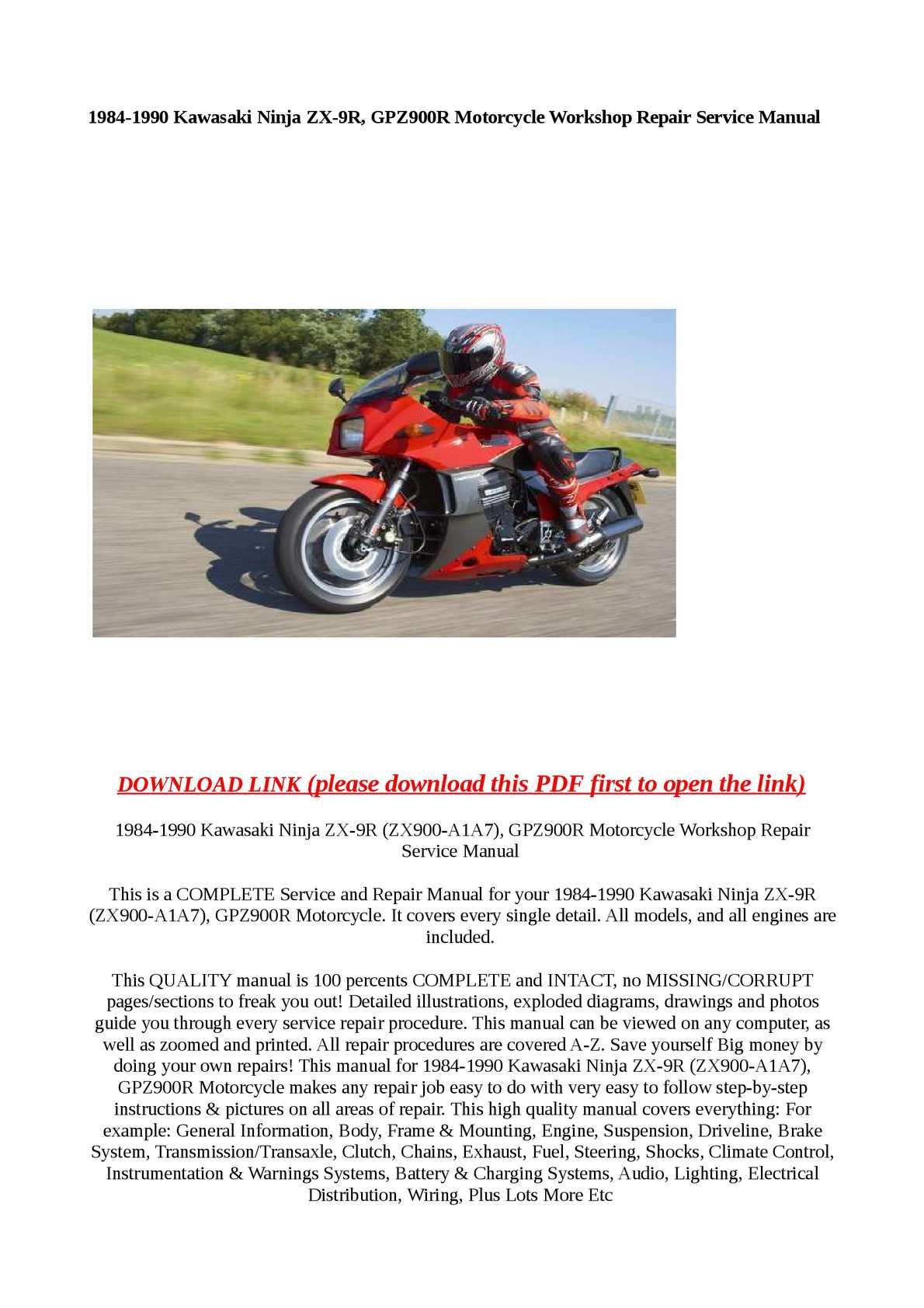 hight resolution of 1984 1990 kawasaki ninja zx 9r gpz900r motorcycle worksh