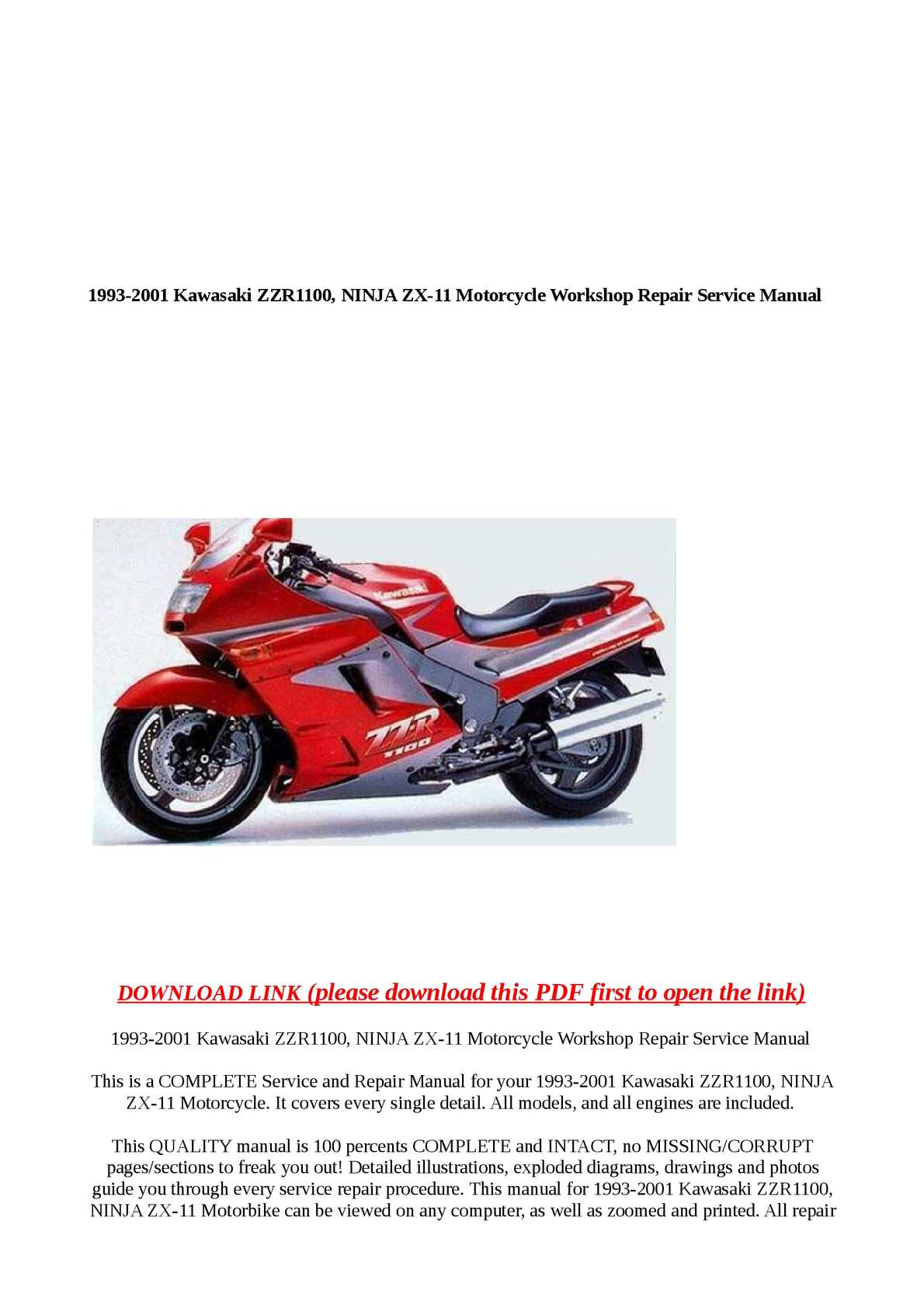 hight resolution of calam o 1993 2001 kawasaki zzr1100 ninja zx 11 motorcycle workshop rep
