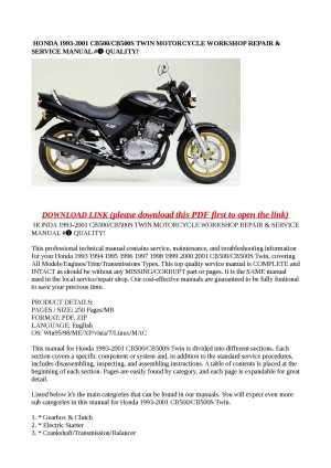 Calaméo  HONDA 19932001 CB500CB500S TWIN MOTORCYCLE WORKSHOP REPAIR & SERVICE MANUAL # QUALITY!