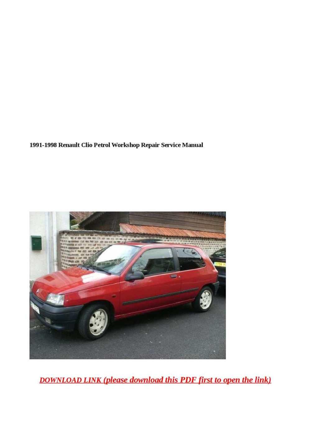 medium resolution of 1991 1998 renault clio petrol workshop repair service manual