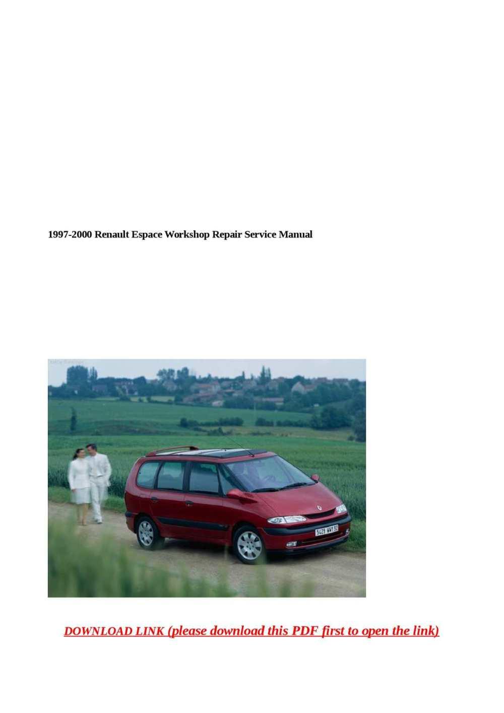 medium resolution of 1997 2000 renault espace workshop repair service manual