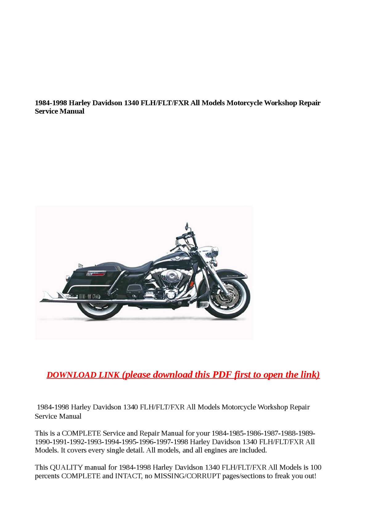 hight resolution of 1984 1998 harley davidson 1340 flh flt fxr all models motorcycle