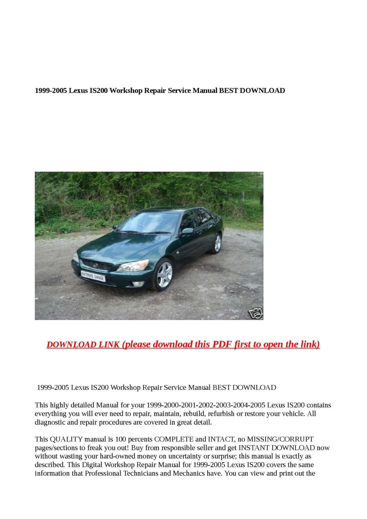 hight resolution of calam o 1999 2005 lexus is200 workshop repair service manual best download