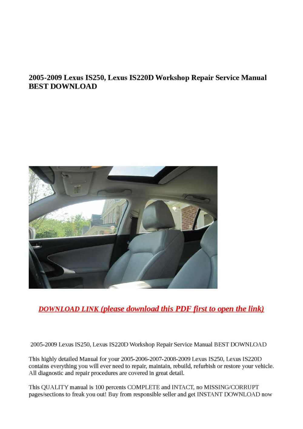 medium resolution of calam o 2005 2009 lexus is250 lexus is220d workshop repair service manua