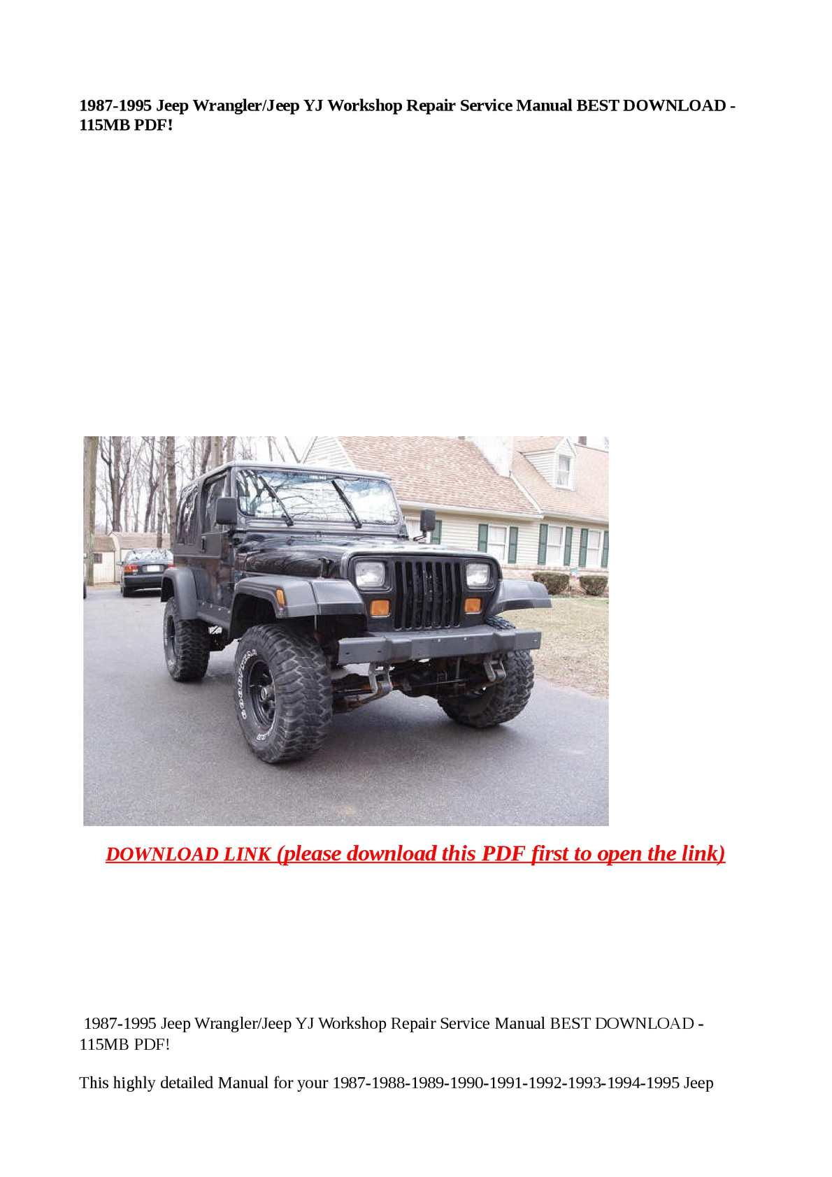 hight resolution of calam o 1987 1995 jeep wrangler jeep yj workshop repair service manual best download 115mb pdf