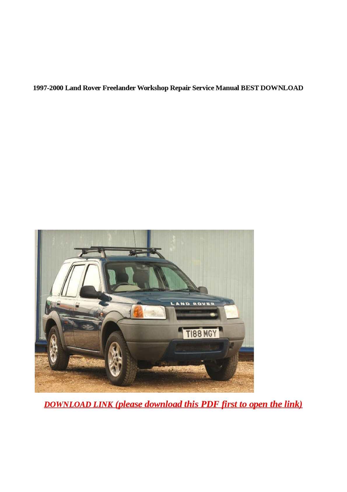 Calaméo 1997 2000 Land Rover Freelander Workshop Repair Service