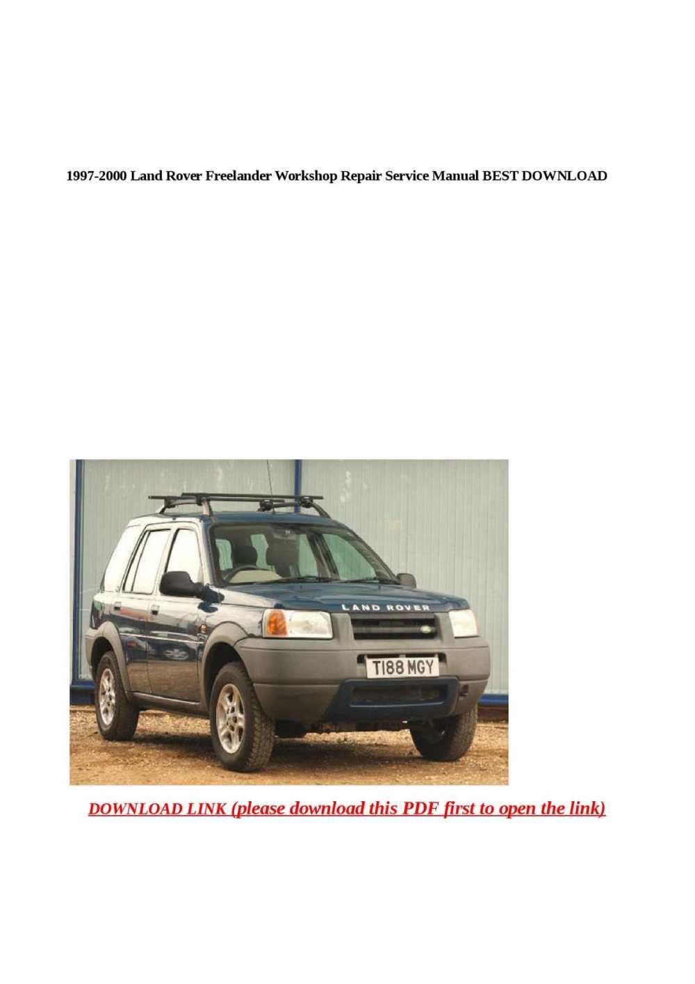 medium resolution of calam o 1997 2000 land rover freelander workshop repair service manual best download