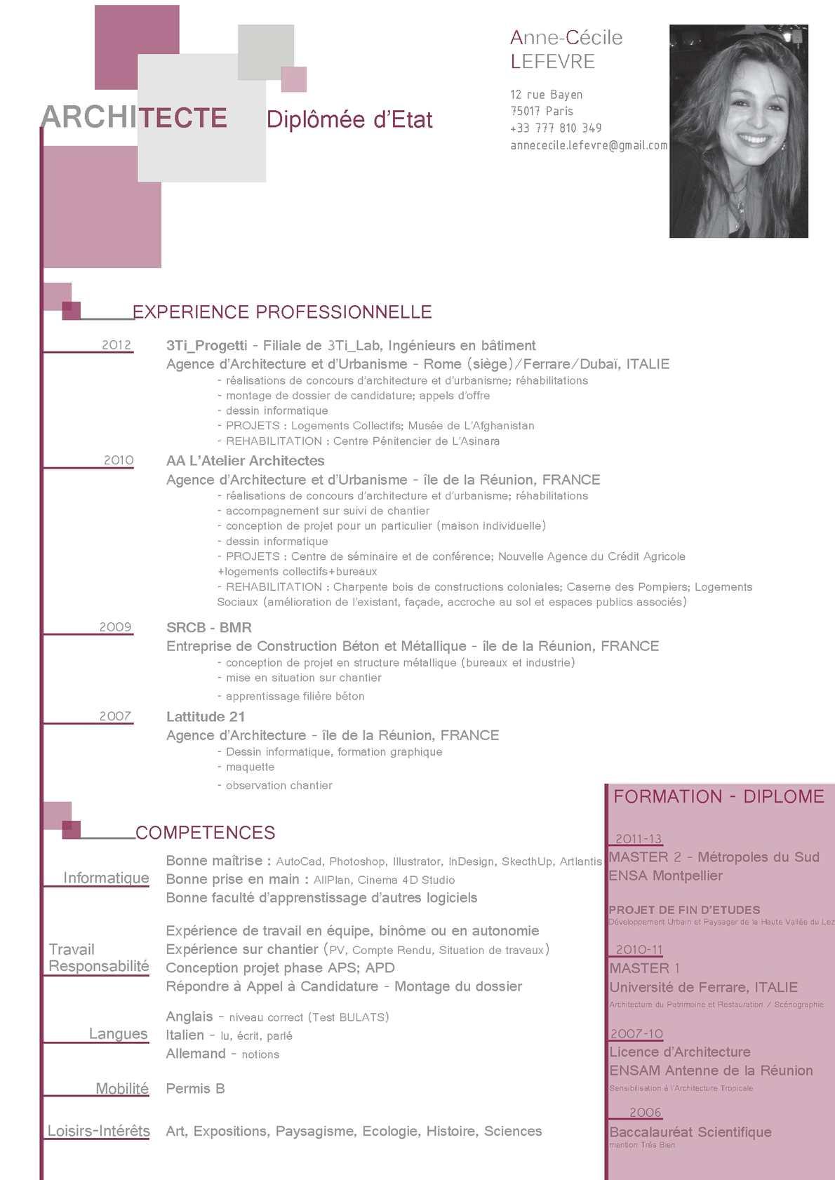 competences cv licence histoire