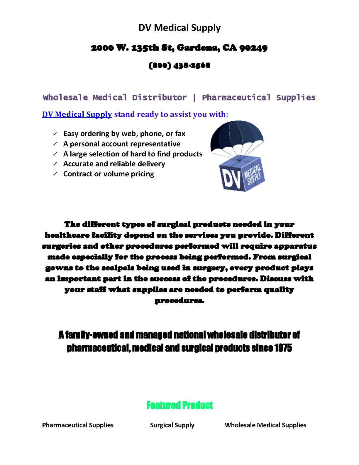 Wholesale Distributor Medical Supplies
