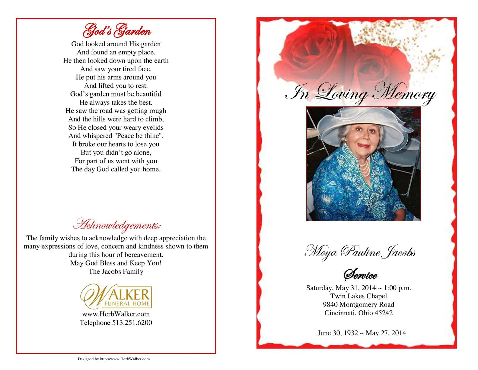Calaméo Moya Pauline Jacobs Funeral Program
