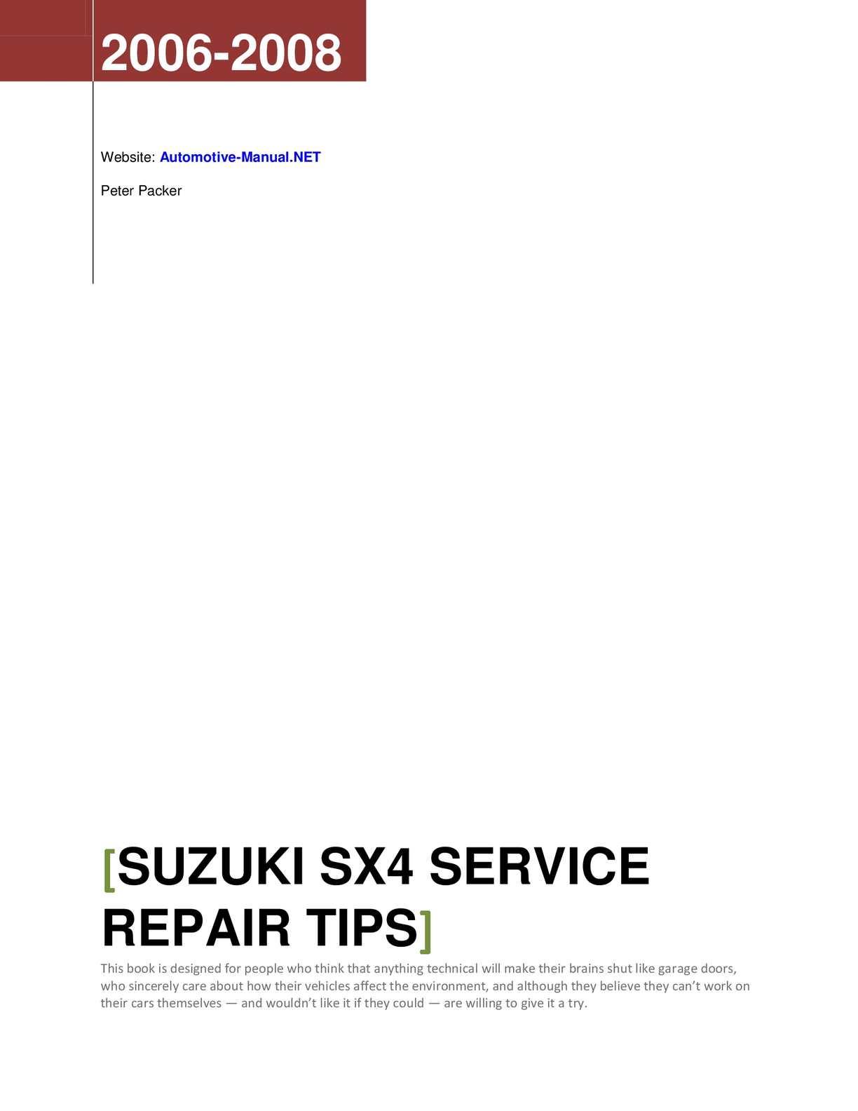 hight resolution of suzuki sx4 2006 2008 service repair tips