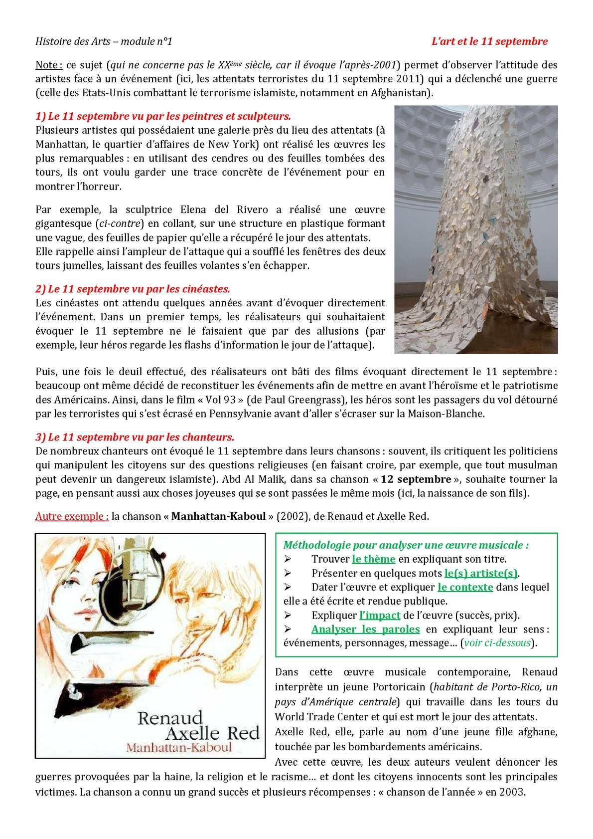 PDF  Epreuve d'Histoire des Arts du DNB 2011 Thème: « L'art et
