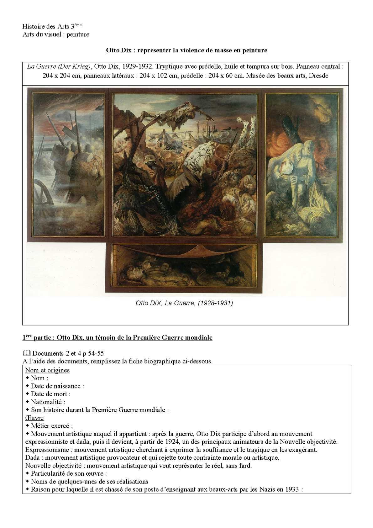 Tableau Otto Dix La Guerre : tableau, guerre, Calaméo, Fiche, D'exercice, (odt),, Guerre