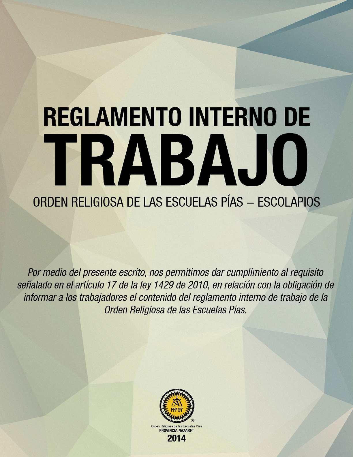Calamo  Reglamento Interno de Trabajo Colegio Calasanz